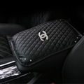 Leather Chanel Rhinestone Pad Armrest Cushions 1pcs Winter Warm Crystal Universal Car Armrest - Black