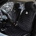 Luxury Diamond Chanel Universal Front Velvet Car Seat Cover Cushion Black Sets - 2pcs