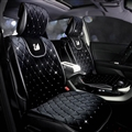 Luxury Diamond Swan Universal Automobile Velvet Car Seat Cover Cushion 5pcs Sets - Black
