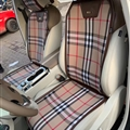 Luxury Plaid Burberry Check Canvas Cloth Car Seat Covers Four Seasons Auto Seat Cushions 5pcs - Brown