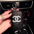 Oblong Chanel Automobile Genuine Leather Wallet Car Key Cover Case AirPods Bags - Black