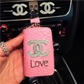 Oblong Chanel Automobile Genuine Leather Wallet Car Key Cover Case AirPods Bags - Pink Love