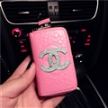Oblong Chanel Automobile Genuine Leather Wallet Car Key Cover Case AirPods Bags - Pink