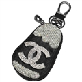 Pretty Chanel Automobile Genuine Leather Wallet Car Key Cover Case AirPods Bags - Black