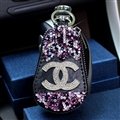 Pretty Chanel Automobile Genuine Leather Wallet Car Key Cover Case AirPods Bags - Purple