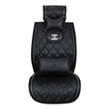 Swarovski Diamond Chanel Universal Auto Leather Car Seat Cover Cushion 1pcs Front - Black