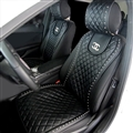 Swarovski Diamond Chanel Universal Automobile Leather Car Seat Cover Cushion 2pcs Front - Black