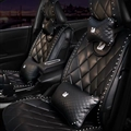 Swarovski Diamond Swan Universal Auto Leather Car Seat Cover Cushion 9pcs Sets - Black