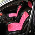 Swarovski Diamond Swan Universal Automobile Leather Car Seat Cover Cushion 10pcs Sets - Rose
