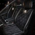 Woman Diamond Chanel Universal Front Velvet Car Seat Cover Cushion Black Sets - 2pcs