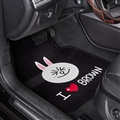 Brown Bear General Auto Carpet Car Floor Mats Velvet 5pcs Sets - Black White