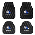 Classical Doraemon General Auto Carpet Car Floor Mats Leather 4pcs Sets - Black Lattice