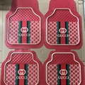 Elegant Gucci Genenal Automotive Carpet Car Floor Mats Rubber 5pcs Sets - Red Black