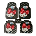 Fun Hello Kittey General Auto Carpet Car Floor Mats Rubber 5pcs Sets - Black Colorful