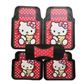 Fun Hello Kittey General Auto Carpet Car Floor Mats Rubber 5pcs Sets - Black Red