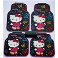 Fun Hello Kittey General Auto Carpet Car Floor Mats Rubber 5pcs Sets - Colorful Black