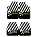Furry Off-White Universal Automotive Carpet Car Floor Mats Velvet 4pcs Sets - Black