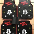 Mickey Mouse General Auto Carpet Car Floor Mats Rubber 5pcs Sets - Red Black