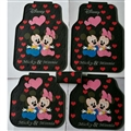 Mickey Mouse General Auto Carpet Car Floor Mats Rubber 5pcs Sets - Red Heart