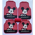 Mickey Mouse General Auto Carpet Car Floor Mats Rubber 5pcs Sets - Red Spot