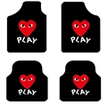 PLAY General Auto Carpet Car Floor Mats Velvet 4pcs Sets - Black Red