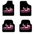 Panther General Auto Carpet Car Floor Mats Velvet 4pcs Sets - Black Pink