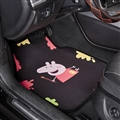 Peppa Pig General Auto Carpet Car Floor Mats Velvet 5pcs Sets - Black Colorful
