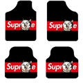 Supreme Husky General Auto Carpet Car Floor Mats Velvet 4pcs Sets - Black Red