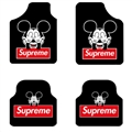 Supreme Mickey Mouse General Auto Carpet Car Floor Mats Velvet 4pcs Sets - Black Red