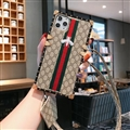 Gucci Faux Leather Ribbon Lanyards Cases Shell For iPhone 12 Pro Silicone Soft Covers - Honeybee 02