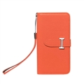 Calssic Hermes Pattern Flip Leather Cases Book Genuine Holster Cover For iPhone 12 Pro Max - Orange