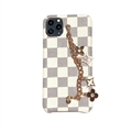 Chain Leaf LV Lattice Protective Leather Back Covers Holster Cases For iPhone 12 Pro Max - White