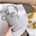 Chanel Check Chain Real Leather Case Crossbody Wallet Universal Bag Holster Cover For iPhone 12 Pro Max - White