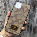 Classic Metal Coach Protective Leather Back Covers Holster Cases For iPhone 12 Pro Max - Brown