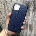 Classic Monogram LV Protective Leather Back Covers Holster Cases For iPhone 12 Pro Max - Blue