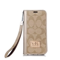 Coach Lattice Strap Flip Leather Cases Chain Book Holster Cover For iPhone 12 Pro Max - Gold Beige