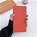 LV Monogram Housing Flip Leather Cases Cover Book Genuine Holster Shell For iPhone 12 Pro Max - Orange