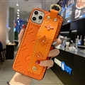 LV Monogram Non-slip Support Leather Cases Cover Back Genuine Holster Shell For iPhone 12 Pro Max - Orange