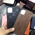 New Flower LV Genuine Leather Back Covers Holster Cases For iPhone 12 Pro Max - Brown