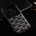 Unique Shell Goyard Genuine Leather Back Covers Holster Cases For iPhone 12 Pro Max - Black