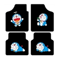 Classical Doraemon Genenal Automotive Carpet Car Floor Mats Velvet 4pcs Sets - Black