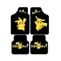 Classical Pikachu Genenal Automotive Carpet Car Floor Mats Velvet 4pcs Sets - Black