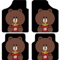 Classical Rilakkuma Genenal Automotive Carpet Car Floor Mats Velvet 4pcs Sets - Black