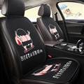 Cute Crayon Shin-chan Polyester Auto Cushion Universal Car Seat Covers 7pcs - Black