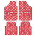 LV Supreme Genenal Automotive Carpet Car Floor Mats Velvet 4pcs Sets - Red