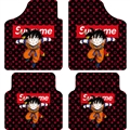 LV Supreme Son Goku Automotive Carpet Car Floor Mats Velvet 4pcs Sets - Red