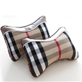 Luxury Burberry 2pcs Polyester + Leather Universal Car Neck Pillows Support Headrest - Beige