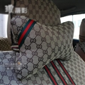 Luxury Gucci 2pcs Polyester Universal Car Neck Pillows Support Headrest - Beige