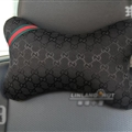 Luxury Gucci 2pcs Polyester Universal Car Neck Pillows Support Headrest - Black