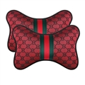 Luxury Gucci Automobile 2pcs Polyester Car Neck Pillows Support Headrest - Red